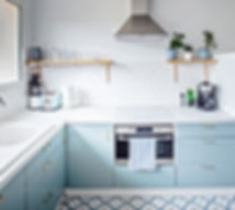 blue kitchen, blue andwhite kitchen, metro tiles, interior inspiration, vacaton rental, les petits gardons, south of france