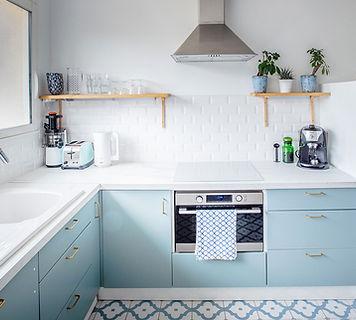 blue kitchen, blue andwhite kitchen, metro tiles, interior inspiration, vacaton rental, les petits gardons, south of france