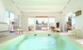piscine intérieure, location de villa, chaise rotin, gîte, les petits gardons,  maison de vacances avec piscine, gite, occitanie, gard