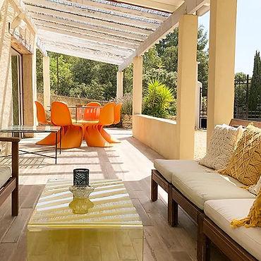 panton chair, summer, sunny terrace, glass coffee table, gite, holiday accommodation, les petits gardons
