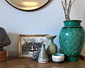 chambre, ceramique, gaya, matriarchi, vert, déco vintage, chic, location de vacances, gite, gite 2 chambres, les petits gardons, provence, gard, occitanie