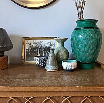 ceramics, matriarchi, gaya, second hand objects, vintage furniture, home decoration, wedding picture, pottery, rattan, green, gie, le petits gardons, vacation rental south of france