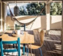 blue, terrace, hammock, summer, vacation rental, les petits gardons, gite