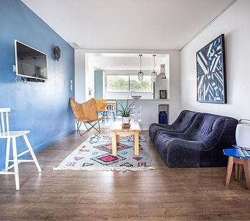 Blue, ligne roset kali, butterfly chair, kitchen window, vintage furniture, gite, les petits gardons, vacation rental for 2, south of france