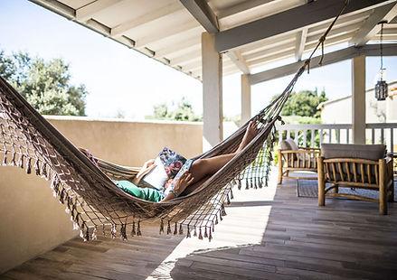 hammock, terrace, gite for 2, les petits gardons, holiday rental, vacation rental, gite south of france