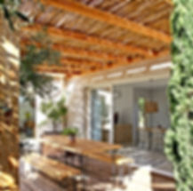 terrace, gite, vacation rental south of france, les petits gardons, pergola