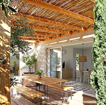 terrace, gite, vacation rental south of france, les petits gardons, pergola