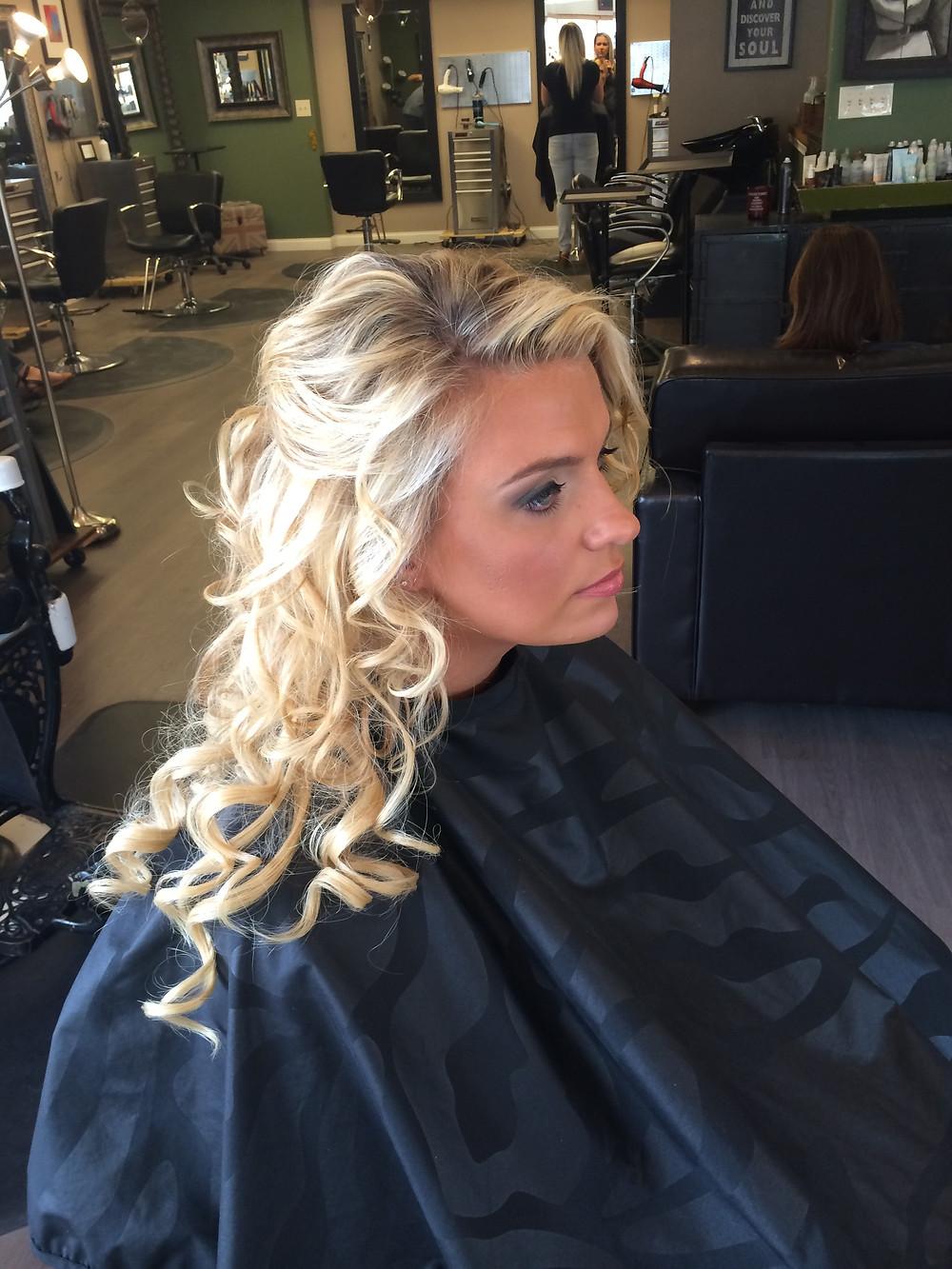 Hair & Makeup by Sara K | Half-up curled bridesmaid style