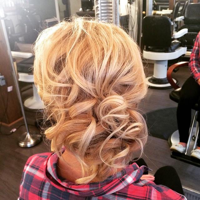 Hair & Makeup by Sara K | Curled bridesmaid updo