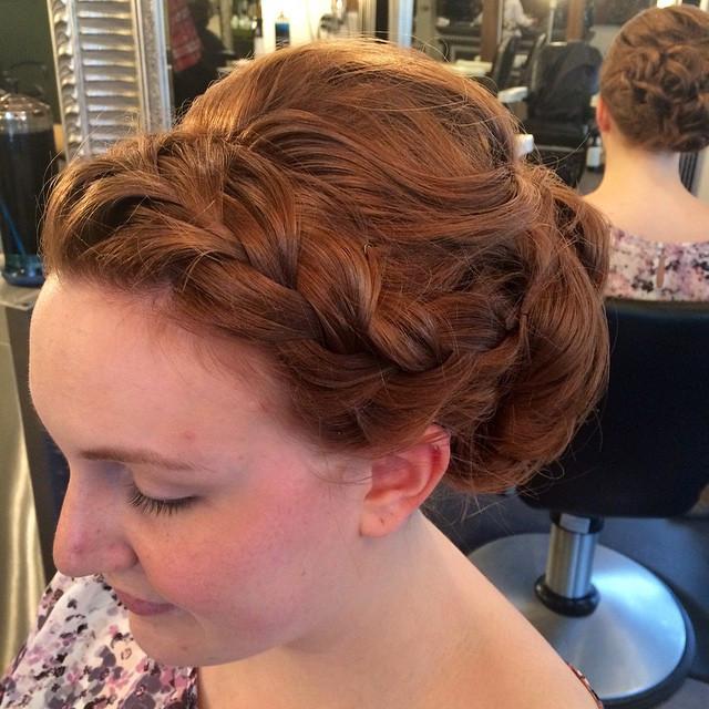Hair & Makeup by Sara K | side braid wedding updo