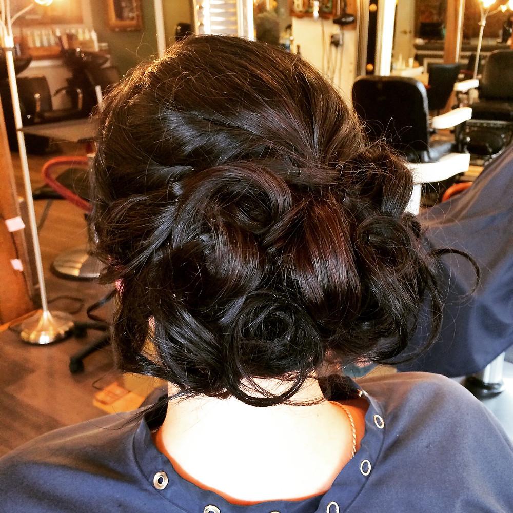 Hair & Makeup by Sara K | Curled bridal updo