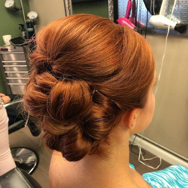 Hair & Makeup by Sara K | Barrel curl bridesmaid updo