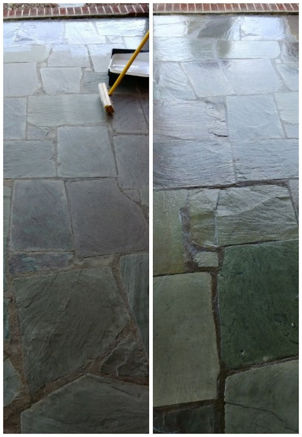 Cleaned and sealed outdoor natural stone with glossy finish