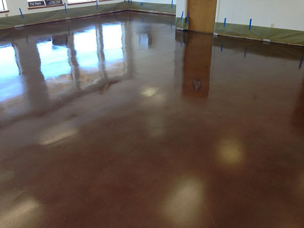 color stained and coated concrete floor