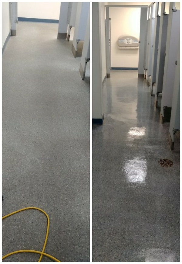 Cleaned and sealed epoxy floor with a glossy finish