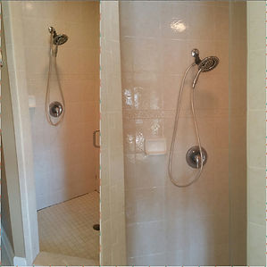 Tile shower coated with GlazeGuard