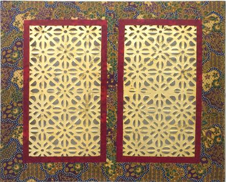 NYONYA IV (2019) Oil and gold leaf on batik 80x120cm