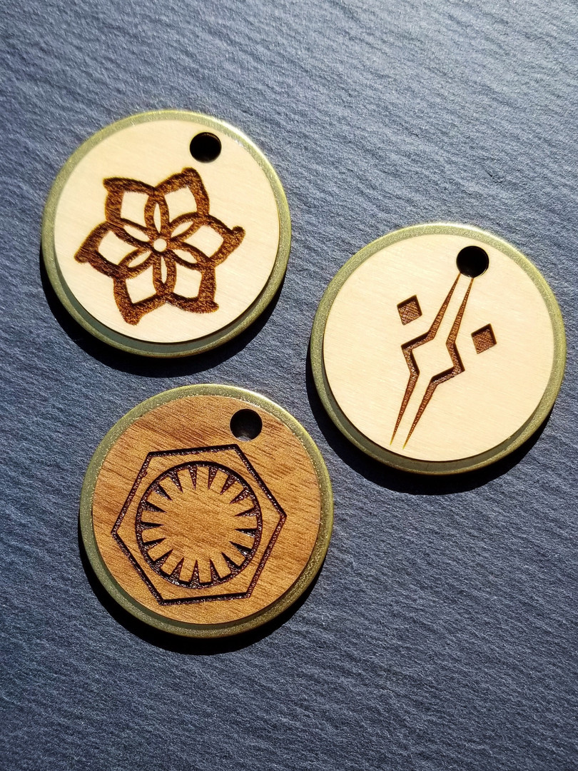 Brass and Wood Veneer Tags