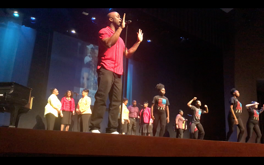 Stephan Terry with Alvin Ailey youth Dancers, and choir at Fire in the Heart show, Kansas