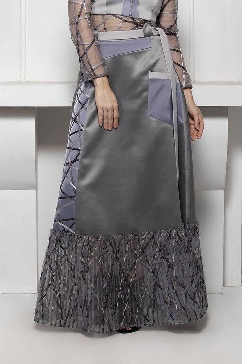 Grey Monotone Pintuck Hem Skirt