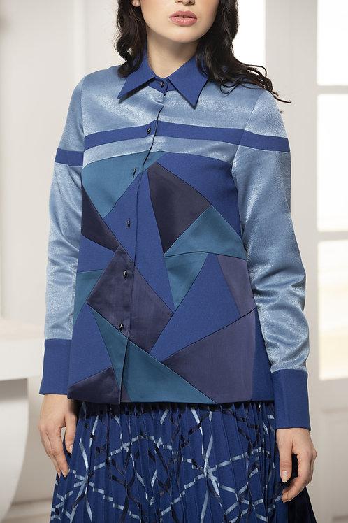 Blue Monotone Colour Block Shirt