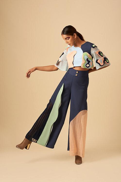 Variegated Colour Block Trouser