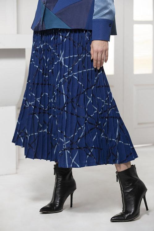 Blue Monotone Pintuck Skirt