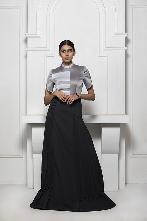 Grey Monotone Colour Block Gown With Pintuck Details