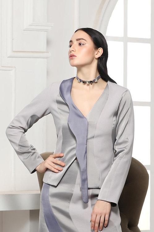 Grey Monotone Extended Collar Coat