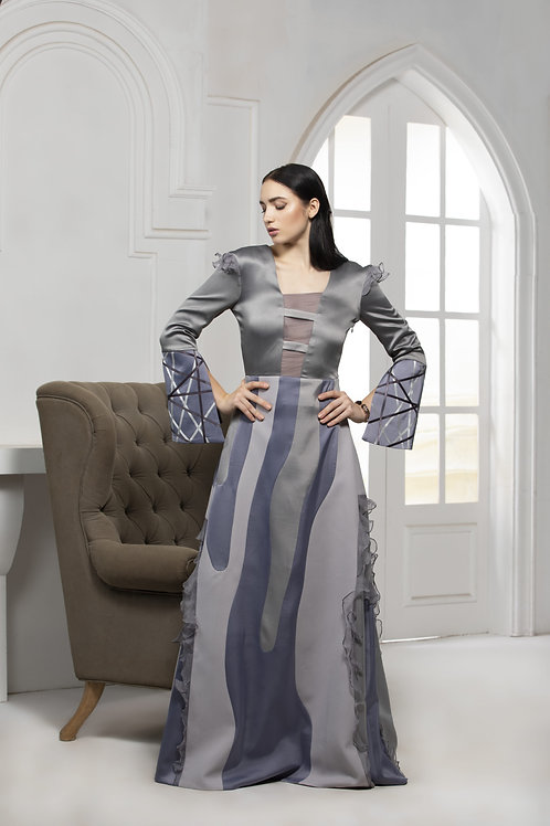 Grey Monotone Abstract Gown