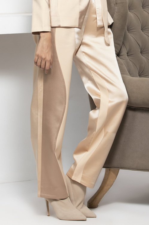 Beige Monotone Colour Block Trouser