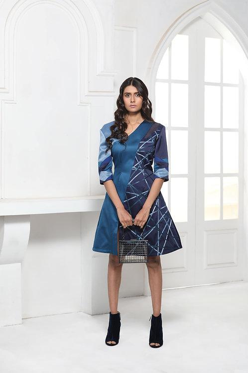 Blue Monotone Off Centre V-Neck Dress