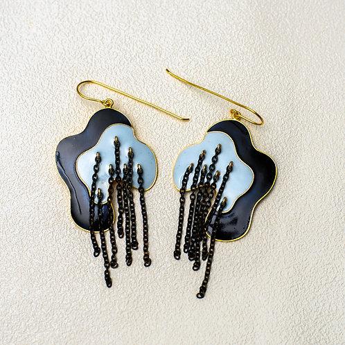 Metal Mystic Lines Earring - Navy Blue