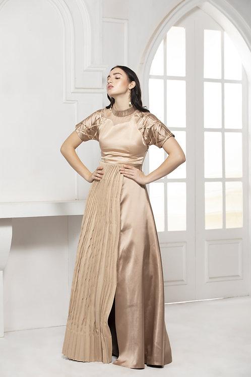 Beige Monotone Long Gown