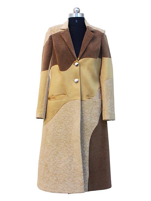 Velvet and Satin Beige Long Panelled Coat