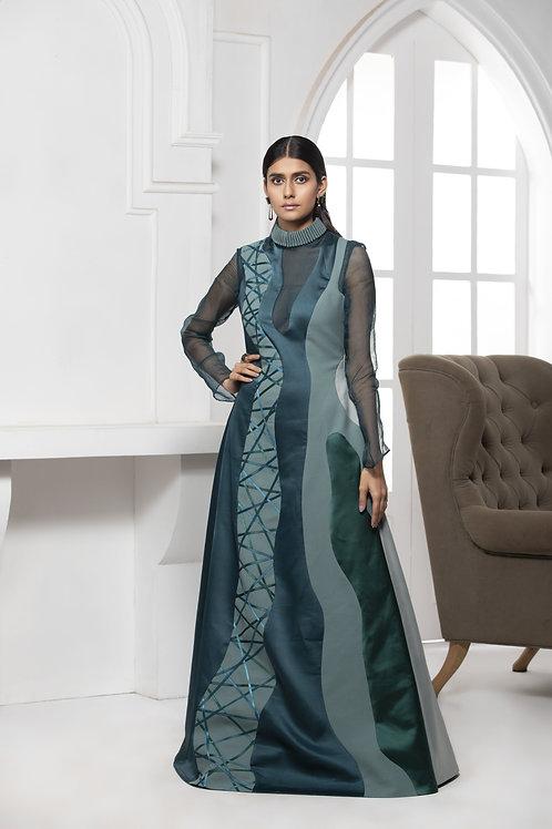 Green Monotone Pintuck Collar Gown