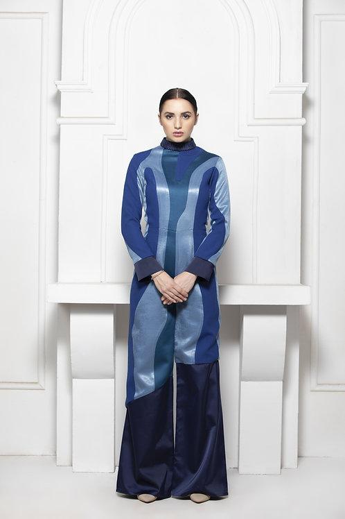 Blue Monotone Colour Block Jumpsuit