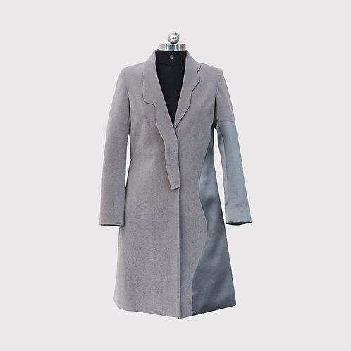 Velvet and Satin Grey Long Panelled Coat