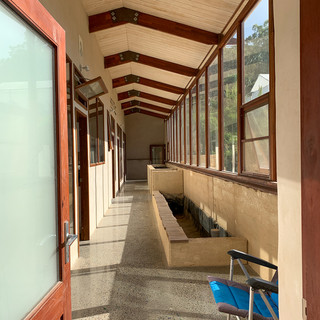 Inside an Earthship – one of the new buildings at Narara Eco Village
