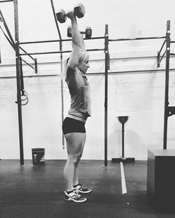 Today's WOD__20 min amrap_20 Dumbell push press_20 burpee box overs with dB_1x 90 ft prowler push __