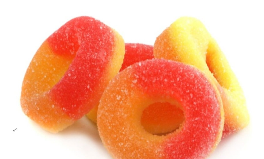 Sour Gummy Peach Rings (Halal Product)