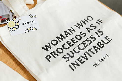 Success Tote Bag (organic cotton, hand made)