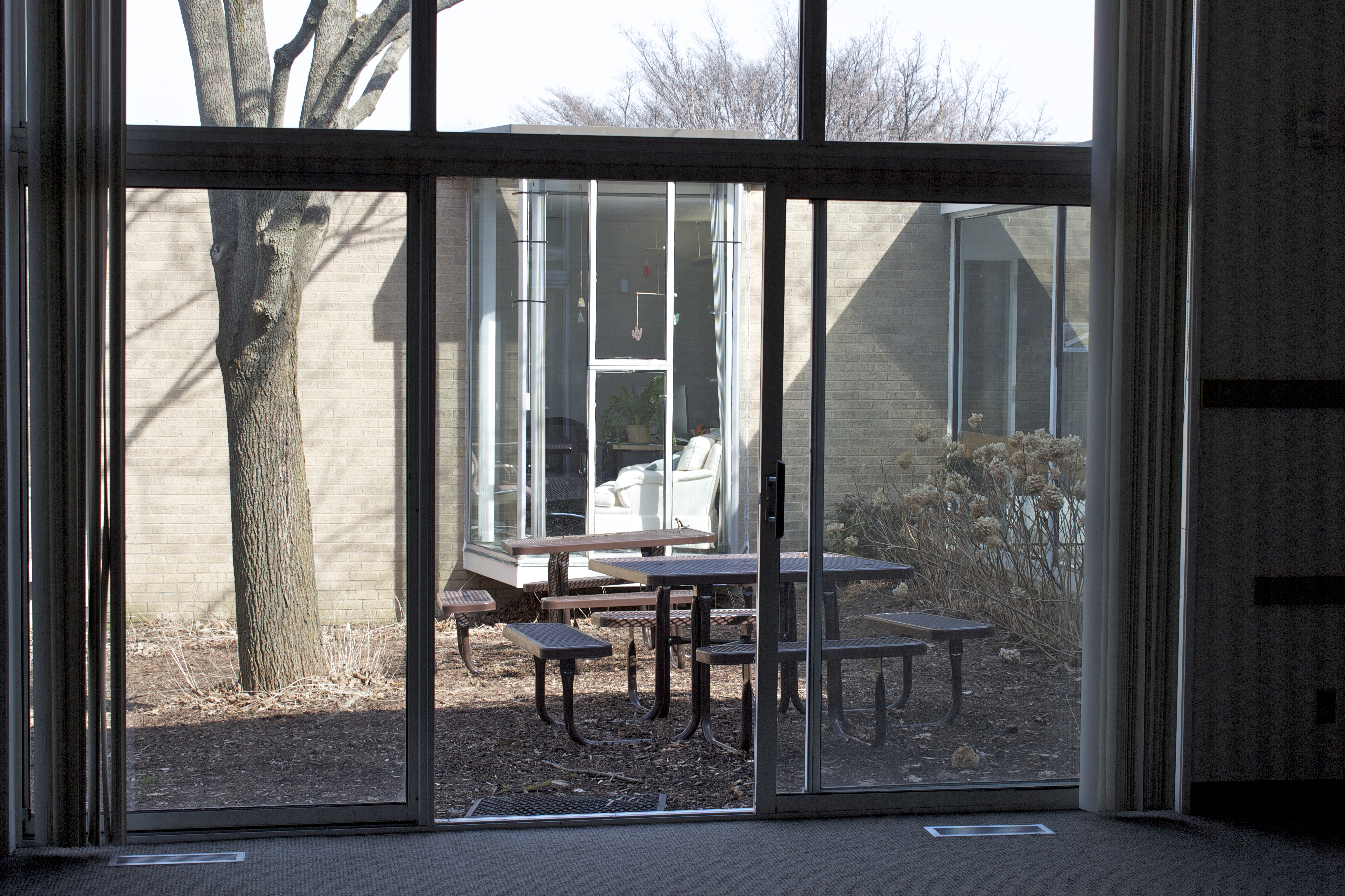 Commons out through sliding glass