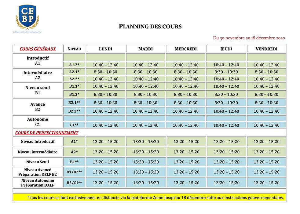 (CEBP) Planning Novembre-Décembre 2020 (