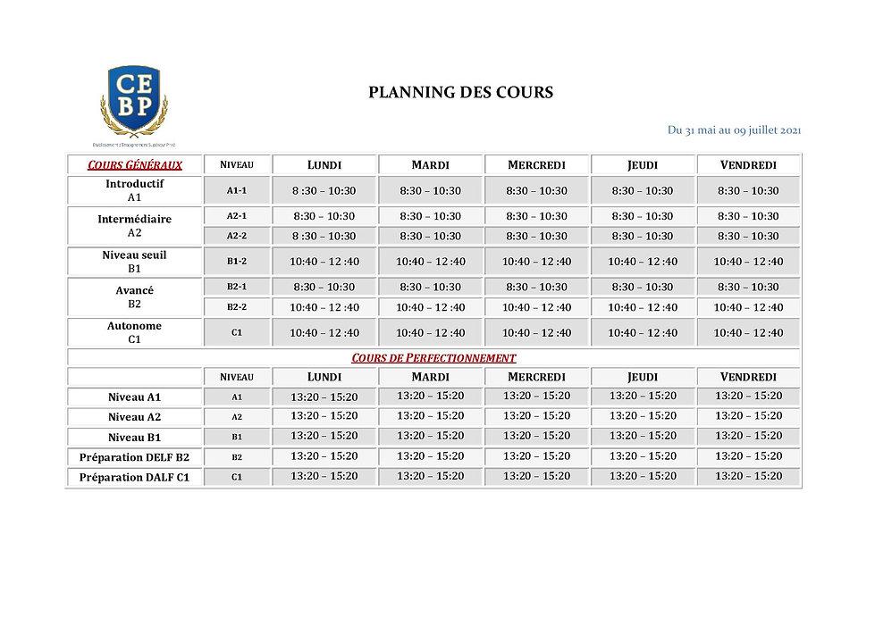 Planning CEBP du 31 mai au 09 juillet N-