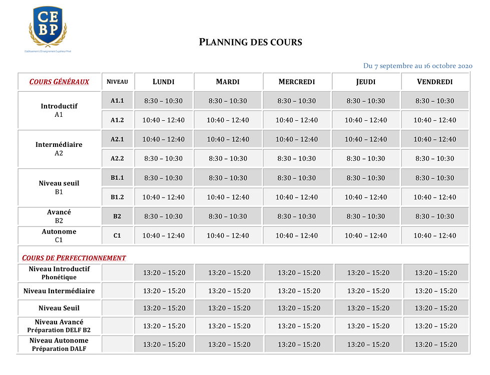 (CEBP) Planning SEPTEMBRE-OCTOBRE 2020 (