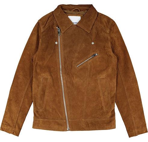 JACK JONES Brown Stone Premium Leather Biker Jacket 1.jpg