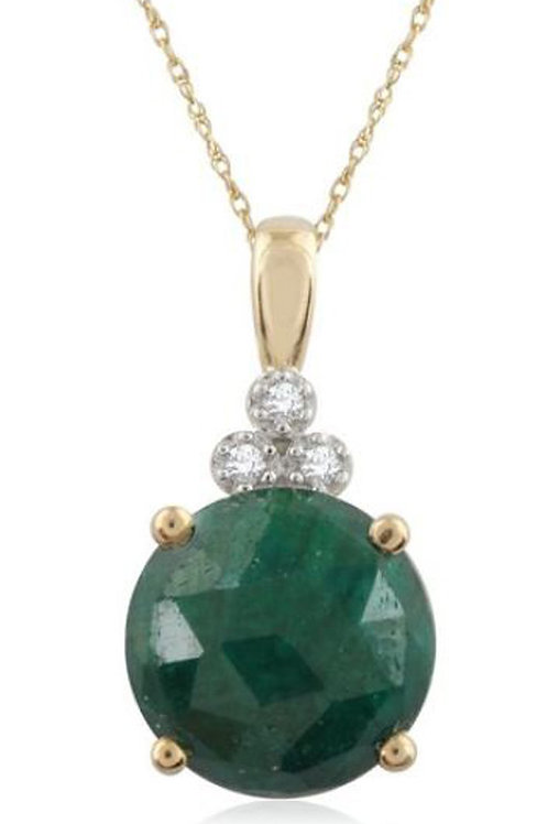 PAVE PRIVE 18ct Yellow Gold with Green Corundum Drop Pendant on Chain 46cm (R&C)