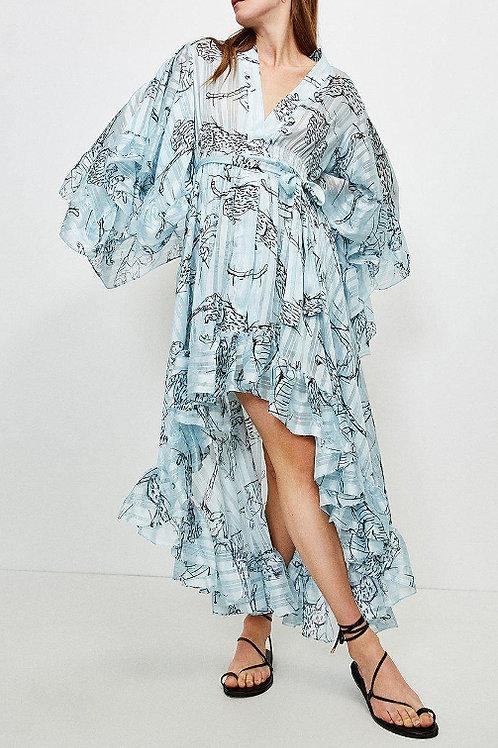 KAREN MILLEN Fluted Sleeve Maxi Dress (RARE & COLLECTABLE)