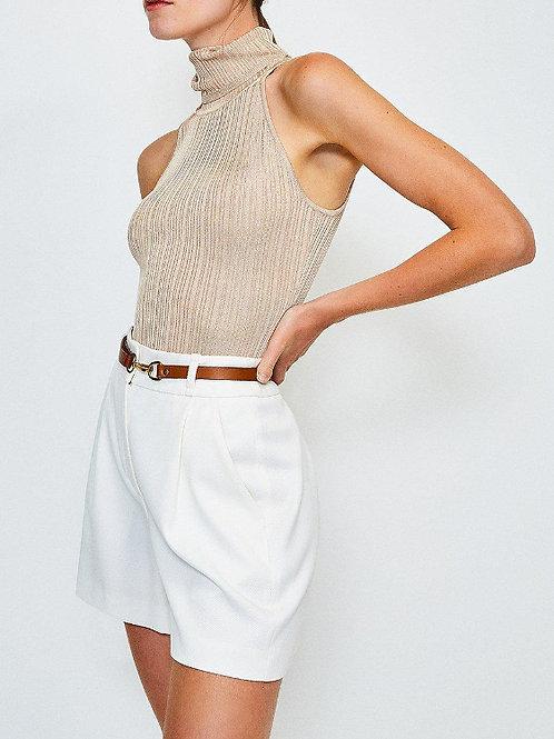 KAREN MILLEN Knitted Rib Roll Neck Sleeveless Top(RARE & COLLECTABLE)